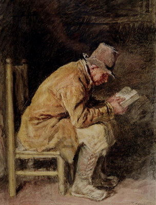 Study of a Countryman Reading Fine Art Print by William Henry Hunt
