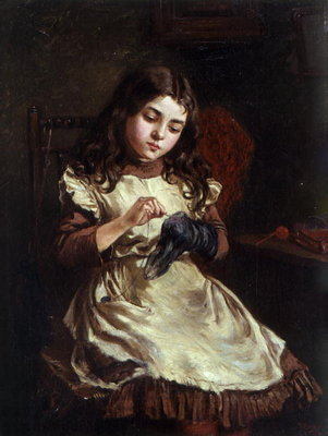 Darning the Sock, 1882 Fine Art Print by Ralph Hedley
