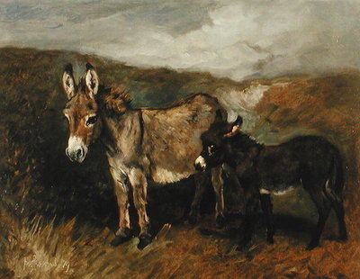 Donkeys out on the Moor, c.1890 Postcards, Greetings Cards, Art Prints, Canvas, Framed Pictures, T-shirts & Wall Art by John Emms