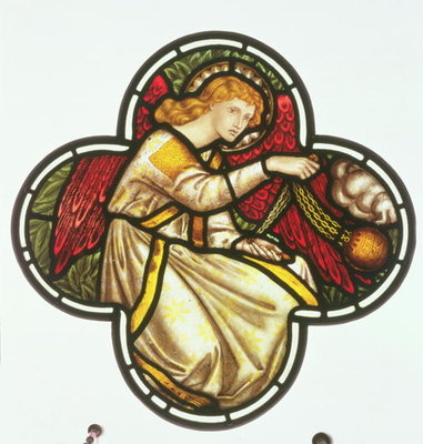Window of an Angel swinging a censer, made by the William Morris factory, 1870 Fine Art Print by Dante Gabriel Rossetti