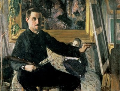 Self Portrait with an Easel, c.1879 Wall Art & Canvas Prints by Gustave Caillebotte