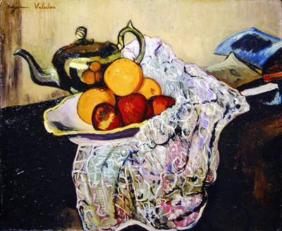 Still Life with Teapot and Fruit Fine Art Print by Marie Clementine Valadon
