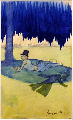 Man sheltering beneath a tree, c.1887 Wall Art & Canvas Prints by Louis Anquetin