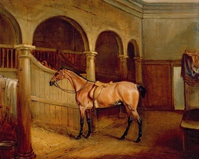 Lord Villiers' Roan Hack in the Stables at Middleton Park, 1834 Fine Art Print by John E. Ferneley