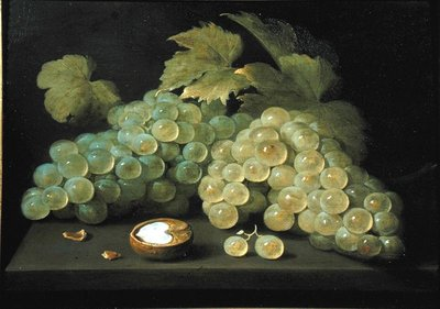 Grapes with half a walnut Fine Art Print by Jacob Foppens van Es