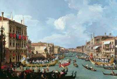 Regatta on the Grand Canal (oil on canvas) Fine Art Print by Canaletto