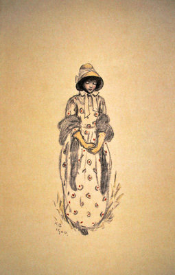 Girl in poke bonnet and shawl, 1900 Fine Art Print by Kate Greenaway