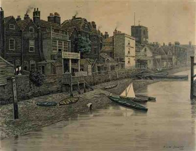 A Thames View Showing the Adam and Eve Tavern in Chelsea, 1868 Fine Art Print by Walter Greaves