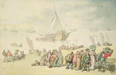 Disembarkation at the Medina River, Isle of Wight Wall Art & Canvas Prints by Thomas Rowlandson