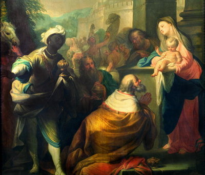 The Adoration of the Magi, detail of the three kings, c.1750 Fine Art Print by Andrea Casali