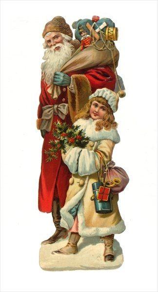 Victorian scrap paper relief of Santa Claus bearing gifts, c.1880 Fine Art Print by English School