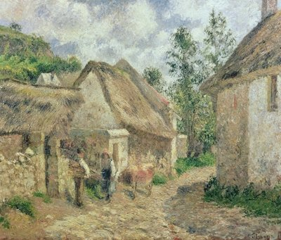 A Street in Auvers Fine Art Print by Camille Pissarro