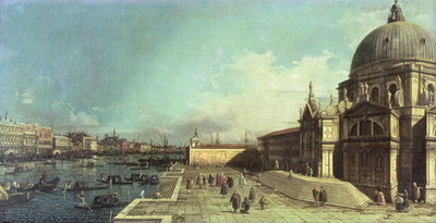 The entrance to the Grand Canal, Venice with the Church of Santa Maria della Salute Postcards, Greetings Cards, Art Prints, Canvas, Framed Pictures, T-shirts & Wall Art by Giovanni Antonio Canaletto