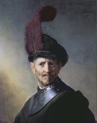An Old Man in Military Costume Fine Art Print by Rembrandt Harmensz. van Rijn