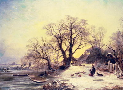 Figures outside a cottage in winter Fine Art Print by Gustaf Fredrik Rydberg