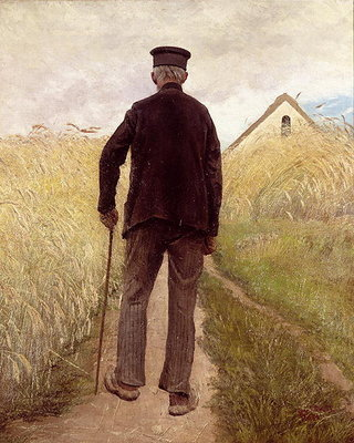 Old man walking in a rye field Fine Art Print by Laurits Andersen Ring