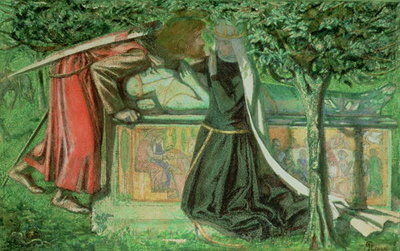 Arthur's Tomb: Sir Launcelot Parting from Guenevere, 1854 Fine Art Print by Dante Gabriel Rossetti