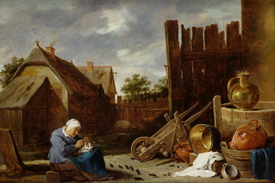 A cat tended by an old woman Fine Art Print by David the Younger Teniers