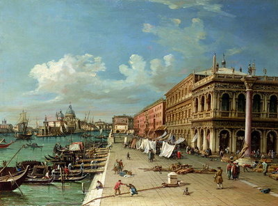 View of the Molo looking towards the entrance of the Grand Canal, Venice Fine Art Print by William James