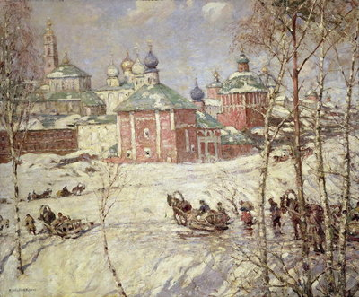 The Kremlin, Moscow under snow Fine Art Print by Frederick William Jackson
