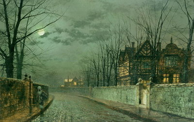 Old English House, Moonlight after Rain, 1883 Fine Art Print by John Atkinson Grimshaw
