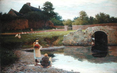 Playing by the Old Bridge, Fine Art Print by Joseph Malachy Kavanagh