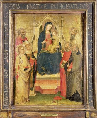 Madonna and Child Enthroned with St. Apollonia, St. Mark, a Bishop Saint, St. Jerome, St. Benedict and St. Anthony of Padua Poster Art Print by Mariotto di Nardo