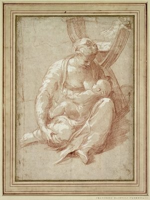 Virgin Seated on the Ground, Nursing the Child Fine Art Print by Parmigianino