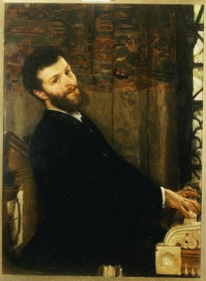Portrait of the singer George Henschel playing Alma-Tadema's piano, Townshend House, 1879 Wall Art & Canvas Prints by Sir Lawrence Alma-Tadema