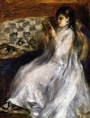Woman in White Reading, 1873 Postcards, Greetings Cards, Art Prints, Canvas, Framed Pictures, T-shirts & Wall Art by Pierre-Auguste Renoir