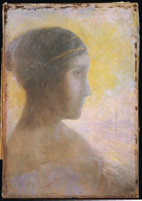 Head of a Young Woman in Profile, c.1895 Fine Art Print by Odilon Redon