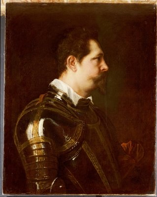 Portrait of a general, bust length, in damascened armour with white collar and red sash Fine Art Print by Sir Anthony van Dyck