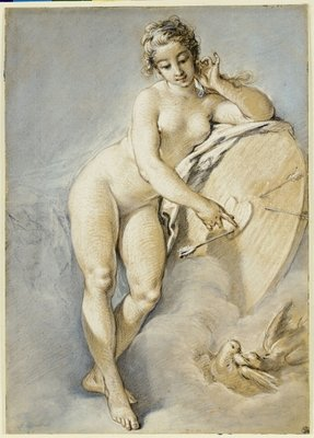 Venus standing, gesturing towards a heart on a target with two doves, 1754 Postcards, Greetings Cards, Art Prints, Canvas, Framed Pictures, T-shirts & Wall Art by Francois Boucher