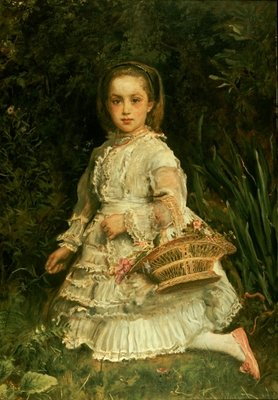 Portrait of Gracia, full length, wearing a white dress, picking wild flowers Fine Art Print by Sir John Everett Millais
