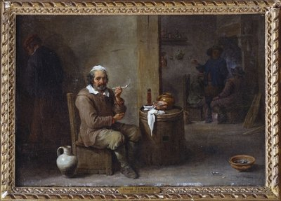 A Peasant Smoking in an inn Poster Art Print by David the Younger Teniers