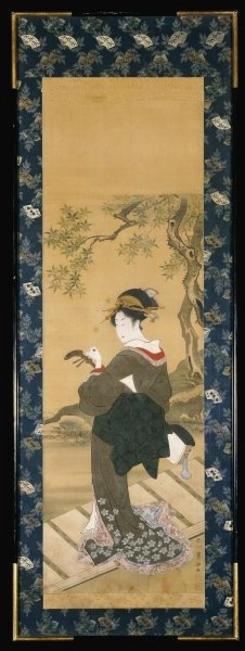 A full length portrait of a woman tuning her shamisen on a veranda Poster Art Print by Utagawa Toyokuni