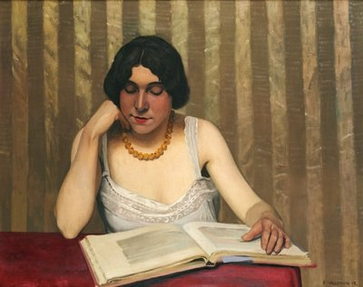Reader with a Yellow Necklace, 1912 Postcards, Greetings Cards, Art Prints, Canvas, Framed Pictures & Wall Art by Felix Edouard Vallotton
