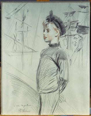 Portrait of a Young Boy in a Sailor Hat and Turtle-Neck, with Ships in the Background Fine Art Print by Paul Cesar Helleu