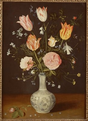 Tulips, roses, forget-me-nots and other flowers in a late Ming blue and white vase Fine Art Print by Jan Brueghel