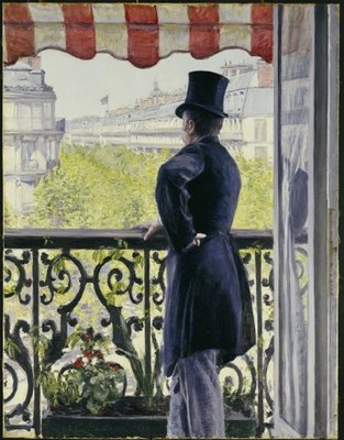 Man on a Balcony, Boulevard Haussmann, 1880 Postcards, Greetings Cards, Art Prints, Canvas, Framed Pictures & Wall Art by Gustave Caillebotte