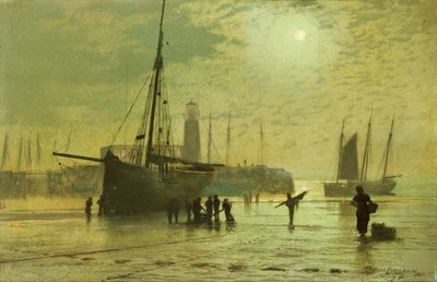 The Lighthouse at Scarborough, 1877 Fine Art Print by John Atkinson Grimshaw