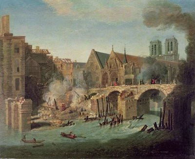 The Burning of the Petit Pont in 1718 Postcards, Greetings Cards, Art Prints, Canvas, Framed Pictures & Wall Art by Jean-Baptiste Oudry