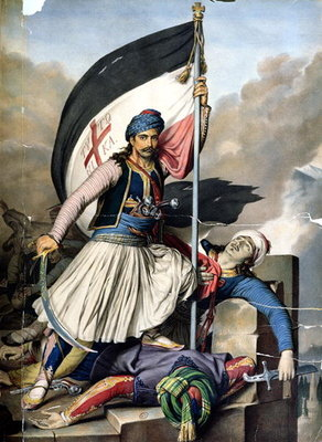 The Greek Rebellion, the standard bearer in Salona on Easter day 1821, litho by Lemercier for 'Voyage a Athenes', written and illustrated by Dupre, 1825 Wall Art & Canvas Prints by Louis Dupre