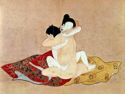 Erotic Scene Fine Art Print by Japanese School