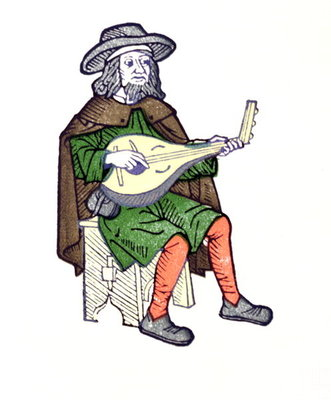 A Troubadour playing lute, from the early 13th century chantefable 'Aucassin et Nicolette' Fine Art Print by French School