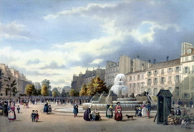 The Fountain of the Boulevard St. Martin, from 'Vue de Paris', c.1840 Poster Art Print by Philippe Benoist