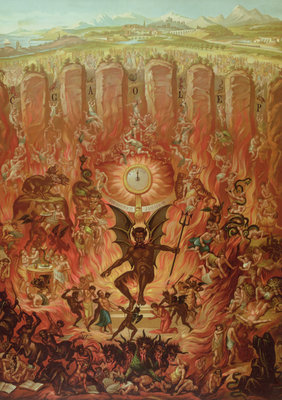 Hell and the Seven Sins, from a catechism published by 'La Bonne Presse', late 19th century Fine Art Print by French School