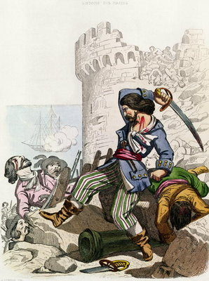 The Chevalier de Gramont, from 'Histoire des Pirates' by P. Christian, engraved by A. Catel, 1852 Wall Art & Canvas Prints by Alexandre Debelle