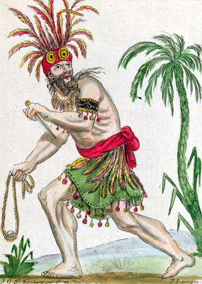 A Savage from the Marquesas Islands, from 'Encylopedie des Voyages', engraved by J. Laroque, 1796 Fine Art Print by Jacques Grasset de Saint-Sauveur