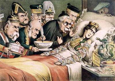 'The Agony of a Martyr', caricature relating to a Spanish economic crisis, 1892 Poster Art Print by Spanish School